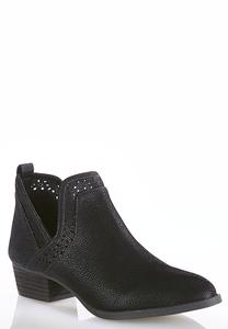 Laser Cut Open Side Ankle Boots