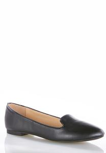 Faux Leather Smoking Flats