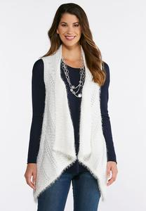 Plus Size Fuzzy Draped Sweater Vest