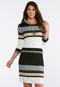 Plus Size Multi Stripe Midi Dress