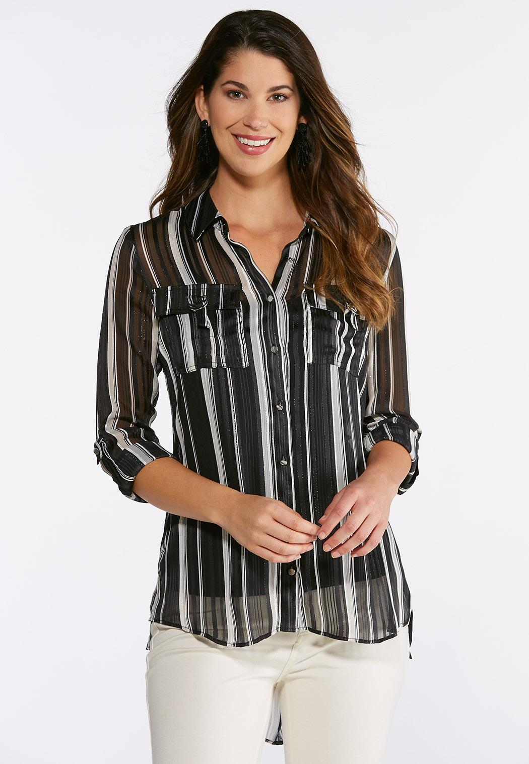 Plus Size Metallic Stripe Top Shirts Blouses Cato Fashions