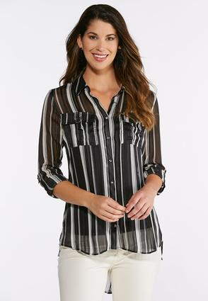 Plus Size Metallic Stripe Top