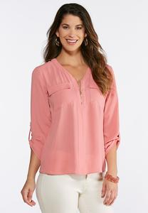 Plus Size Zip Front Equipment Blouse