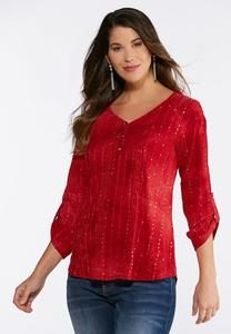 Plus Size Sequin And Ribbon Top