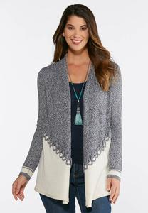 Plus Size Blue And Ivory Cardigan Sweater