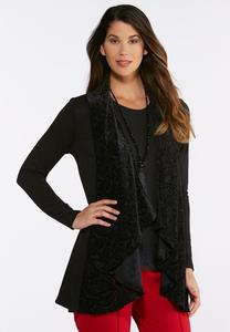 Plus Size Draped Burnout Velvet Cardigan