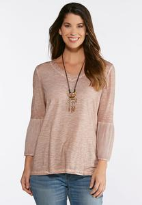 Plus Size Faded Blush Bell Sleeve Top