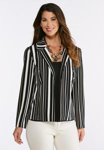 Plus Size Vertical Stripe Knit Blazer