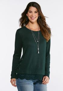 Green Lace Trim Top