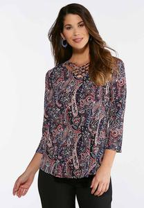 Paisley Puff Lattice Front Top