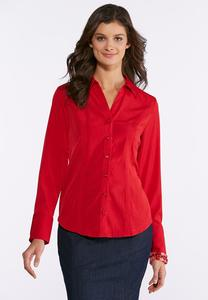 Plus Size Solid Pleated Hem Shirt