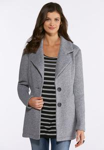 Plus Size Gray Knit Coat