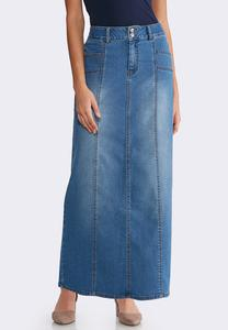 Plus Size Seamed Denim Maxi Skirt