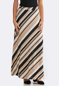 Plus Size Striped Hacci Maxi Skirt