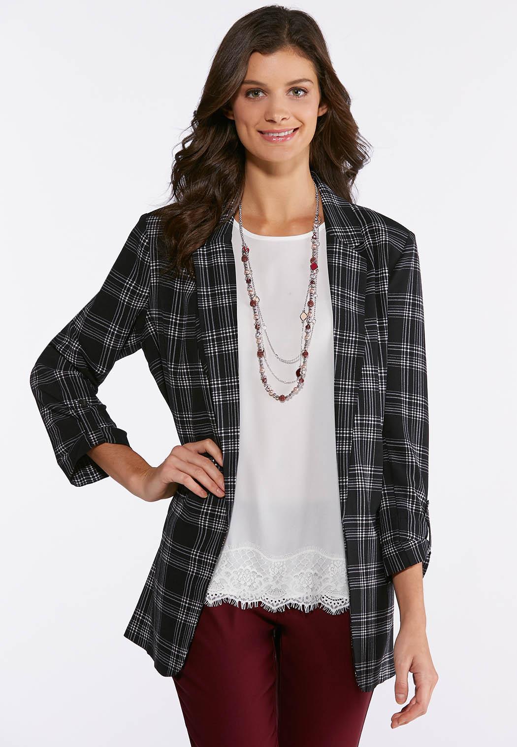8b5c422fd47c4 Black And White Plaid Blazer Fashion Jackets Cato Fashions