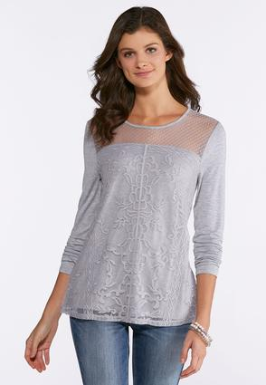 Heather Gray Lace Overlay Top