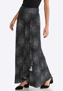 Plus Size Dotted Faux Wrap Maxi Skirt