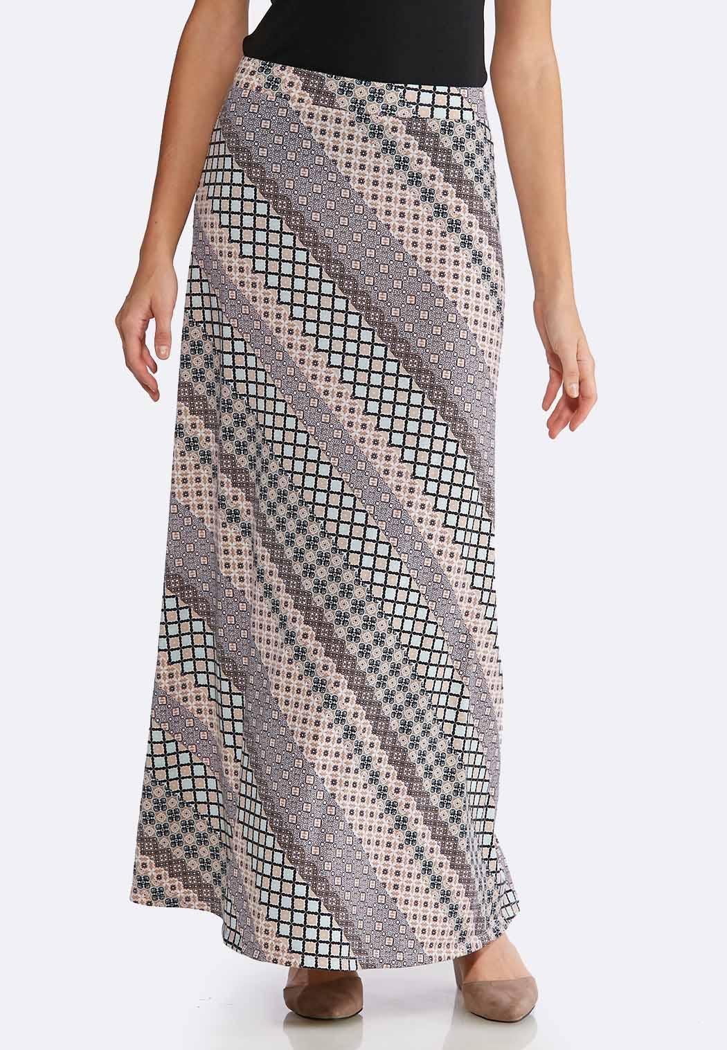 0eb7b6cd77e Plus Size Geo Floral Maxi Skirt Maxi Cato Fashions
