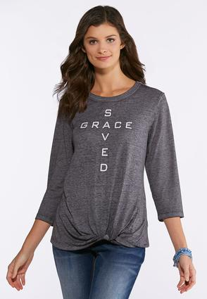 Plus Size Saved Grace Knotted Graphic Tee