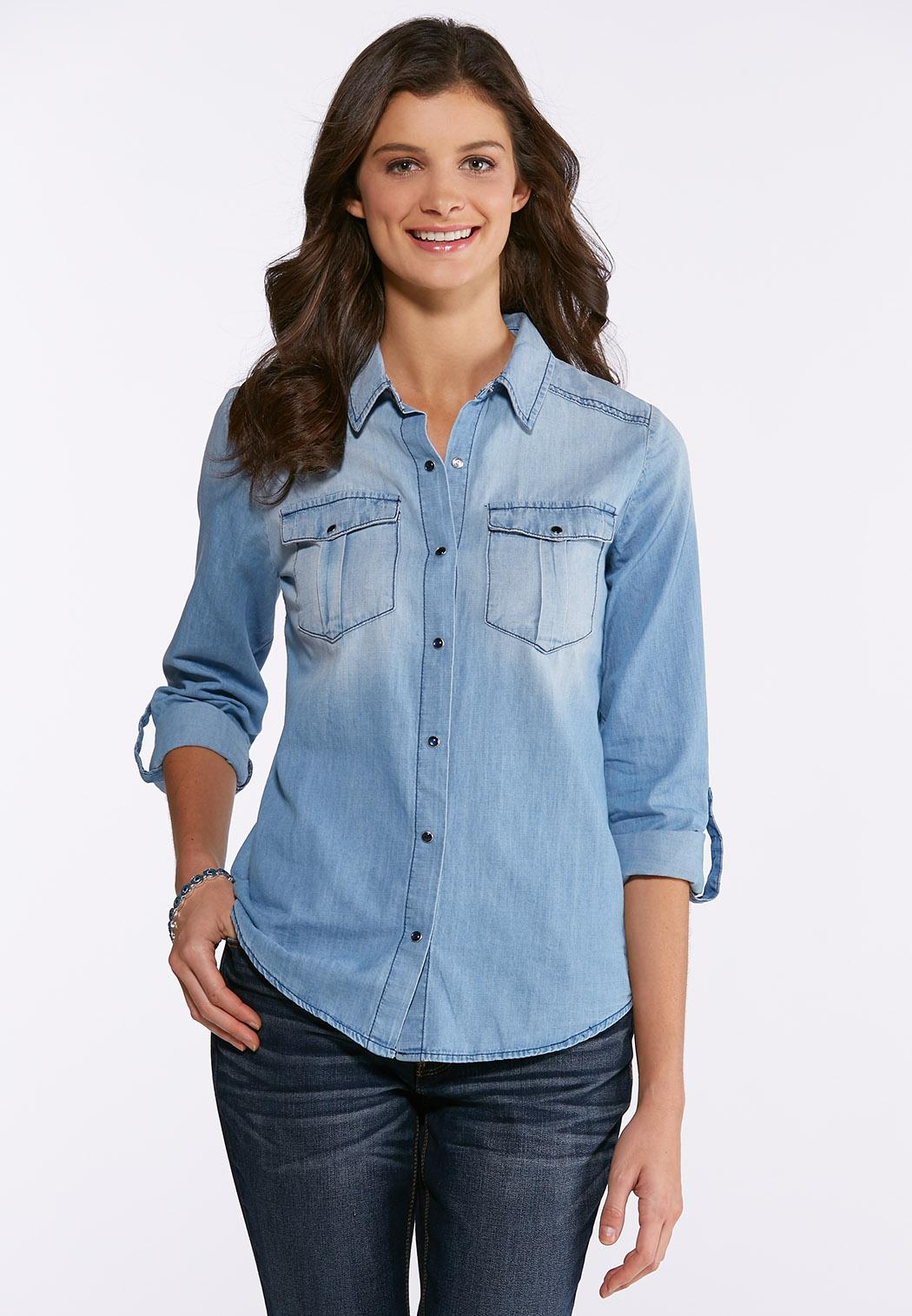 cd28fab1a57 Plus Size Button Down Denim Shirt Shirts Cato Fashions