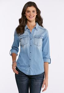 Plus Size Button Down Denim Shirt