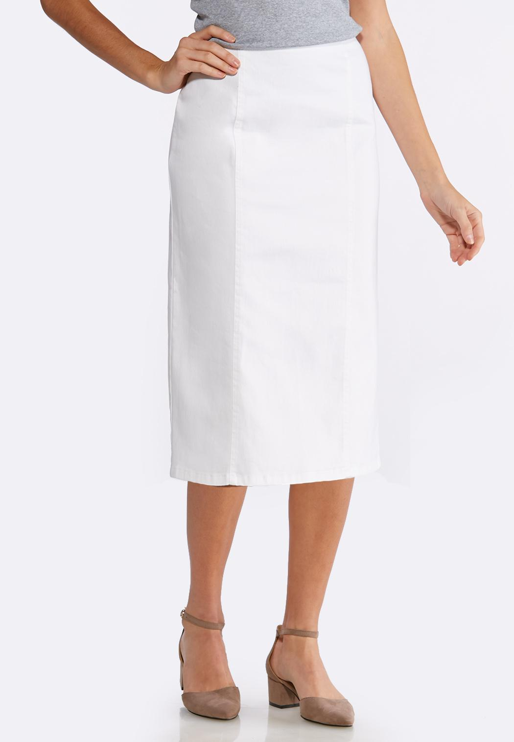 ef552ccb9b Plus Size White Denim Pencil Skirt Skirts Cato Fashions