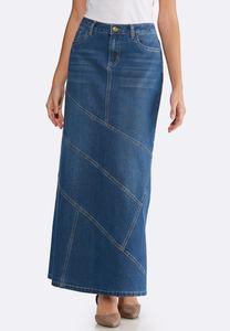 Plus Size Denim Multi Seam Maxi Skirt