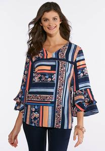 Plus Size Printed Ruffled Sleeve Top