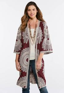 Plus Size Wine Embroidered Duster Kimono