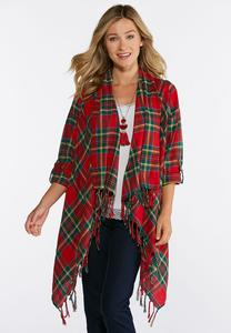Plus Size Classic Plaid Fringe Jacket