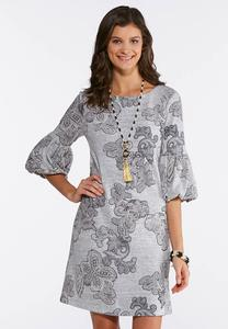 Gray Puff Print Swing Dress