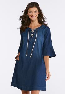 Plus Size Lace Up Denim Dress
