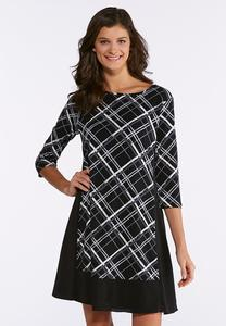 Plus Size Plaid Panel Dress