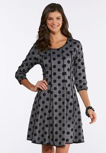 Plus Size Polka Dot Fit And Flare Dress