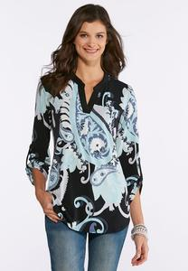 Plus Size Shades Of Blue Paisley Top