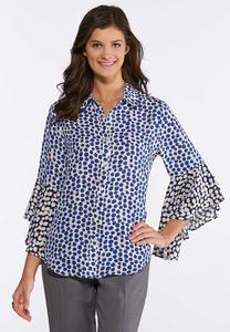 Plus Size Polka Dot Bell Sleeve Top