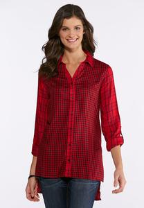 Plus Size Red Mixed Plaid Tunic