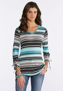 Blue Stripe Tie Sleeve Top