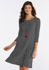 Plus Size Mixed Stripe Swing Dress