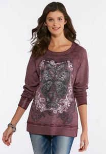 Plus Size Embellished Butterfly Sweatshirt