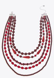 Rich Red Layered Bead Necklace