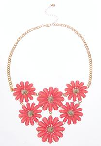 Colored Flower Bib Necklace