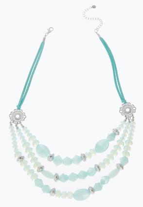 Layered Bead Colored Cord Necklace