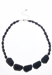 Black Beaded Short Necklace