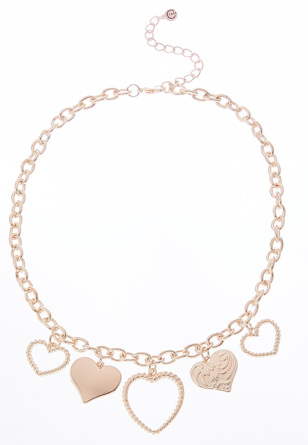 heart charm chain necklace short cato fashions