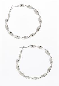 Silver Twisted Metal Hoops