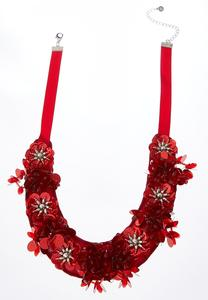 Embellished Flower Ribbon Necklace
