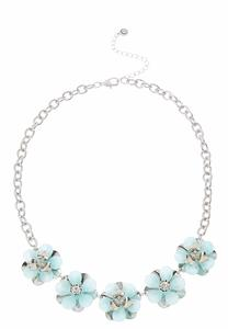 Lucite Flower Bib Necklace