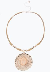 Disc Pendant Corded Necklace