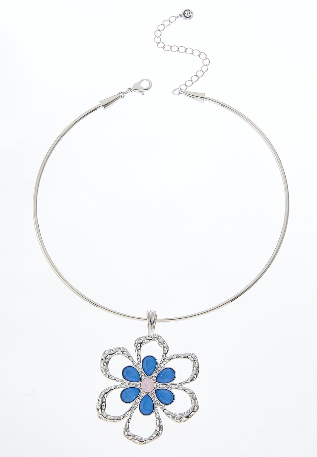 Blue And Pink Flower Pendant Wire Necklace Chokers Cato Fashions